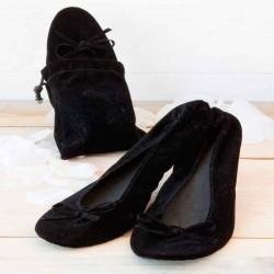 Bailarinas en bolsa terciopelo negro