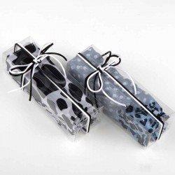 Pañuelo tonos gris y negro en caja