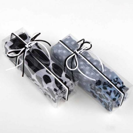Pañuelo tonos gris y negro en caja para regalo