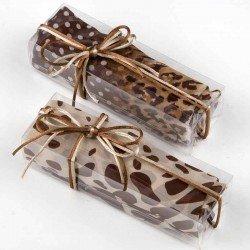 Pañuelo tonos beige y marrón en caja