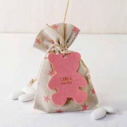 Bolsa estrellitas rosa con peladillas y osito rosa