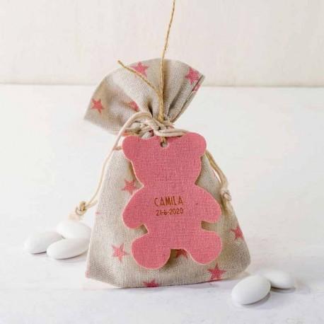 Bolsa decorada con estrellitas rosa, con peladillas y osito rosa