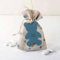 Bolsa estrellitas azul con peladillas y osito azul