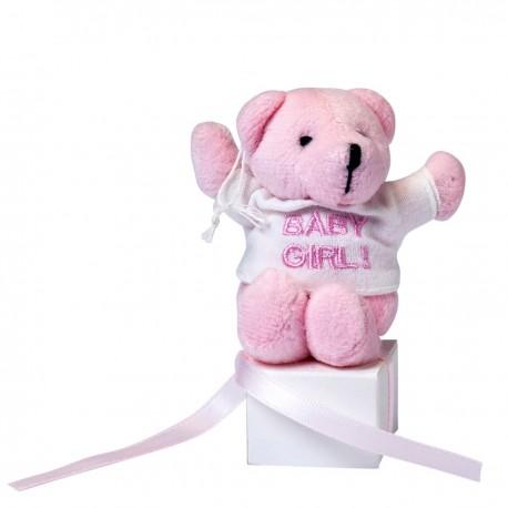 Osito rosa con camiseta baby Girl sobre cajita con 3 peladillas y tarjeta