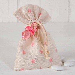 Bolsa estrellitas rosa con chupete y peladillas