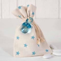 Bolsa estrellitas azul con chupete y peladillas
