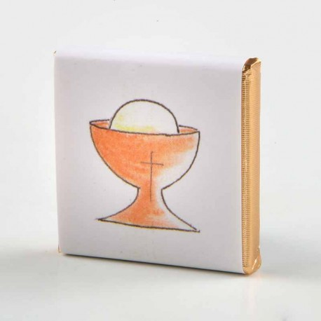 Napolitana de chocolate con diseño para Comunión. Cáliz