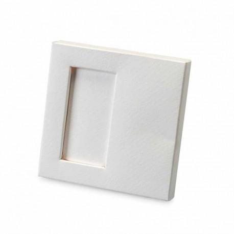 Estuche para dos napolitanas de color blanco, 10 x 1,5 x 10 cm.