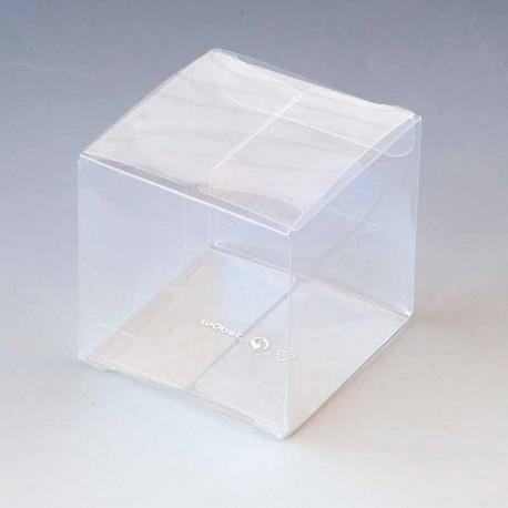 Caja cubo tansparente en acetato, 5,7 x 5,7 x 5,7 cm.