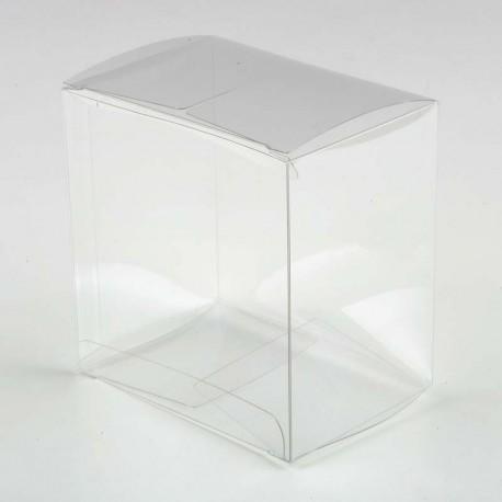Estuche transparente cuadrado grande, 10 x 7 x 10 cm.