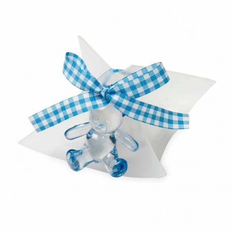 Caja con peladillas de chocolate, decorada con un osito azul y lazo