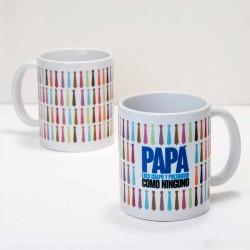 Taza cerámica Papá, diseño corbatas en caja regalo