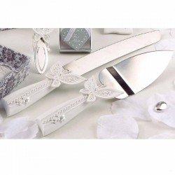 Juego de pala y cuchillo tarta boda mariposas