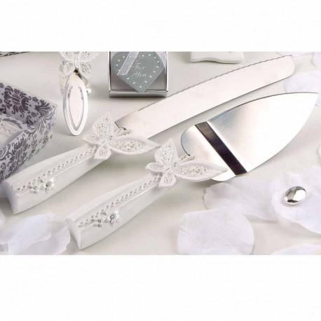 Elegante jJuego de cuchillos para tarta, diseño mariposa