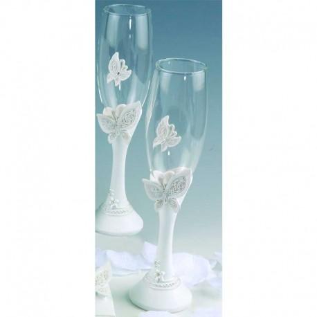 Juego de copas de cava decoradas con mariposas en tonos blancos