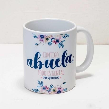 "Taza cerámica para regalo ""Contigo Abuela, todo es genial"""