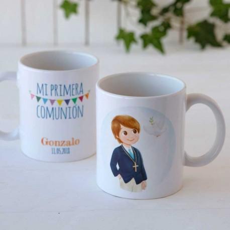 Mug o taza niño Comunión con chaqueta y corbata