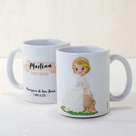 Taza mug personalizada niña Comunión sentada banco