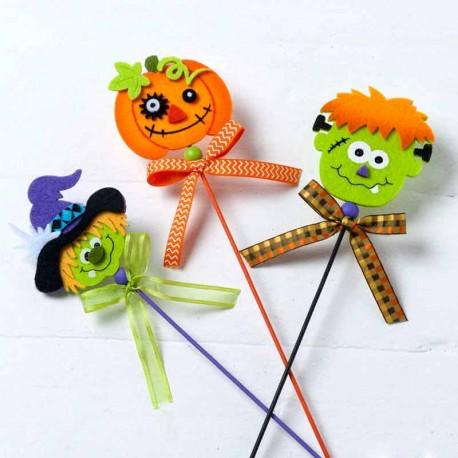 Pic en fieltro personajes de Halloween para decoración