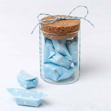Tarrito con 5 caramelos topos azul