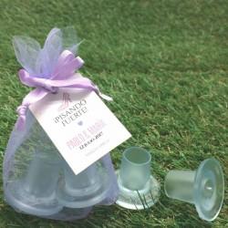 Protector para tacones redondo en bolsa organza lila