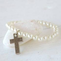 Pulsera perlitas blancas con cruz