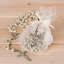Rosario perlas blancas y plateado, en bolsa organza