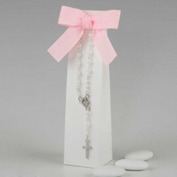 Pulsera rosario perlas y plateada con peladillas