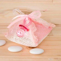Pañuelo rafia con chupete rosa y peladillas