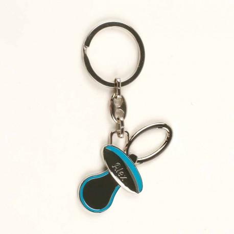 Llavero de metal con forma de chupete y detalles lacados en azul, personalizado