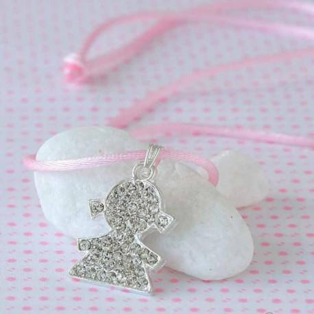 Colgante silueta de niña de strass y con cinta rosa