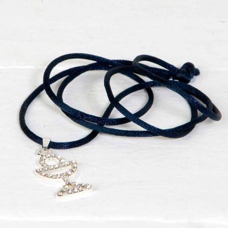 Colgante Cáliz de strass con cordón azul marino