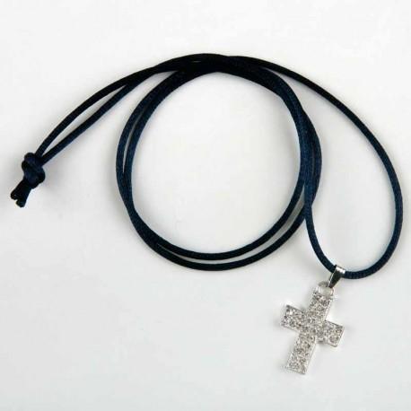 Colgante Cruz strass con cinta azul marino