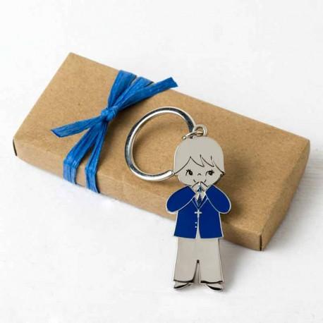 Llavero para comunión, niño chaqueta azul marino con tarjeta personalizada