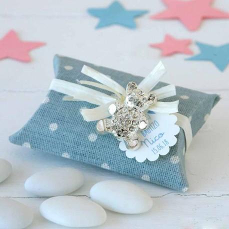 Broche osito de strass con un estuche de topos azul, con peladillas