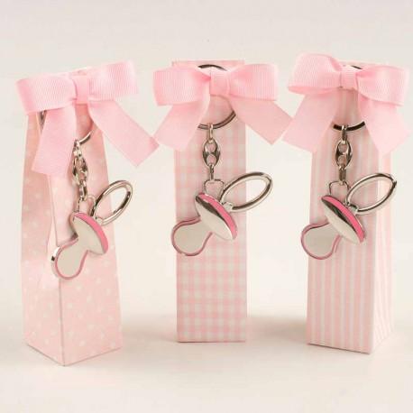 Caja topos, rayas y cuadrados con peladillas y llavero chupete, color rosa