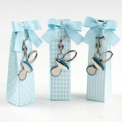Llavero chupete azul en caja alta con peladillas y tarjeta