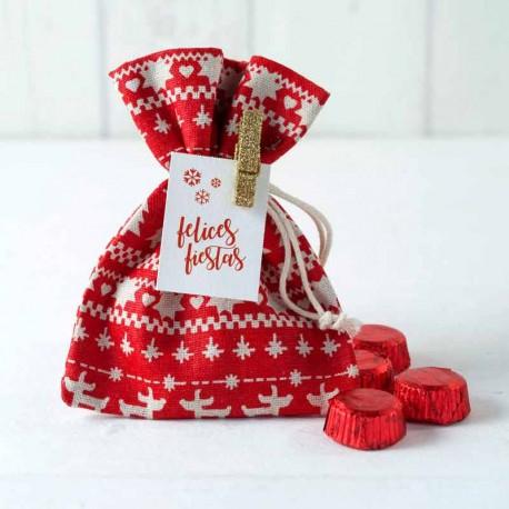 Bolsa roja con ciervos blancos con 4 bombones