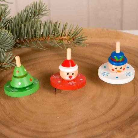 Peonza de madera con motivos navideños