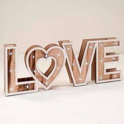 Decoración madera LOVE con luz led
