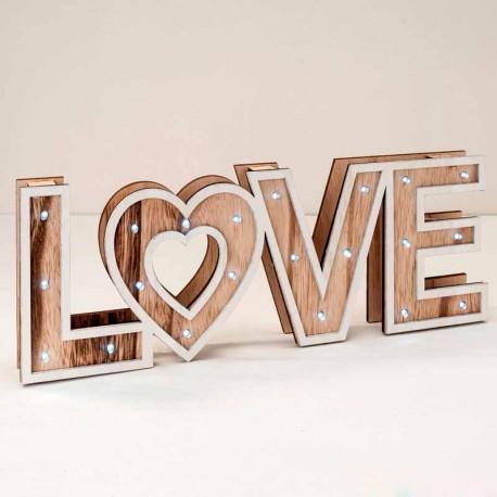 Decoración de madera LOVE con luz led, 40 x 14,5 x 4 cm.