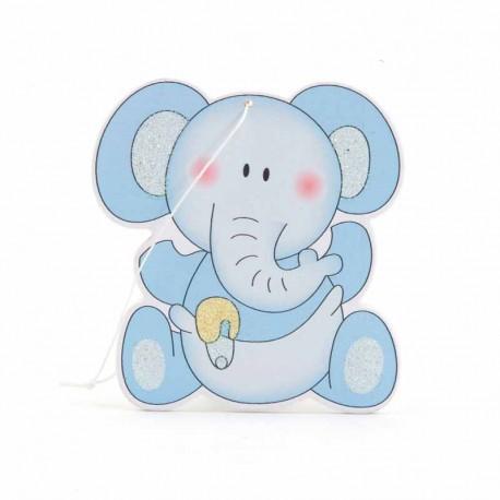 Colgante de madera elefante azul, 6 cm.