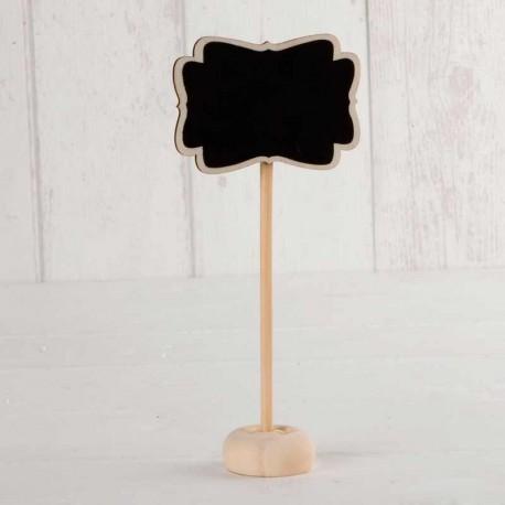 Pizarra con pie y tiza de 7 x 15 x 3 cm. Ideal para la mesa de los invitados