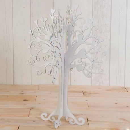 Árbol para los mensajes de los invitados, decorado con originales corazones en las ramas