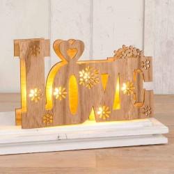 Decoración en madera LOVE con luces led