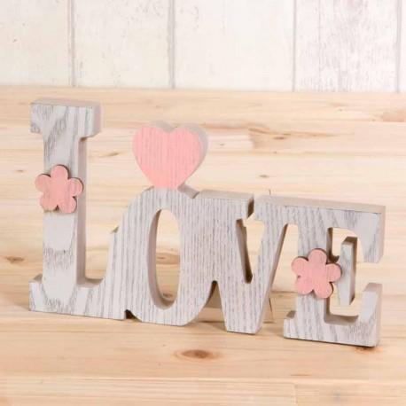 Decoración en madera letras LOVE, en color blanco