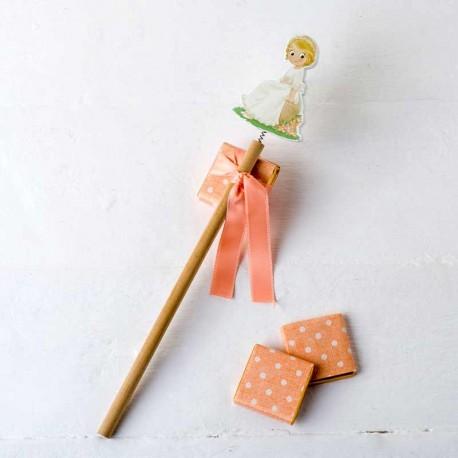 Lápiz de madera niña Comunión sentada, decorado con napolitanas