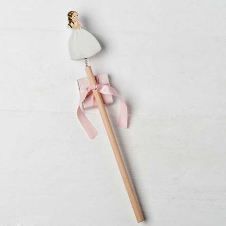 Lápiz de madera niña Comunión con vestido largo y corona de flores