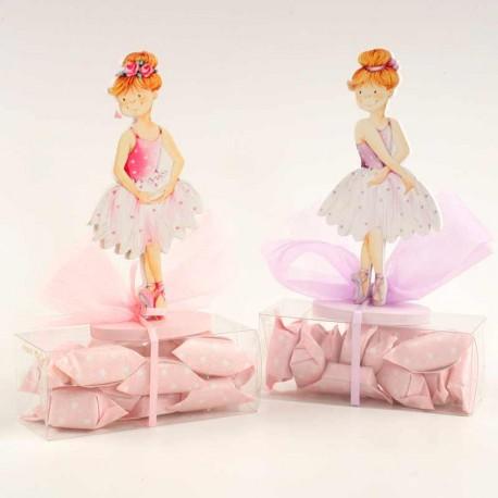 Clip portanotas bailarina de madera con caramelos, detalles niñas