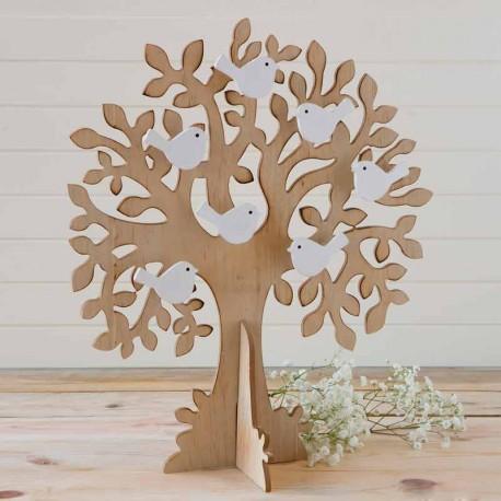 Árbol de los buenos deseos con pajaritos